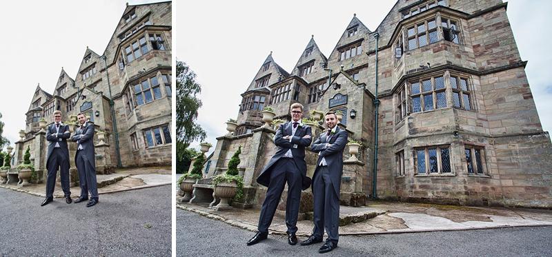groom and best men outside weston hall