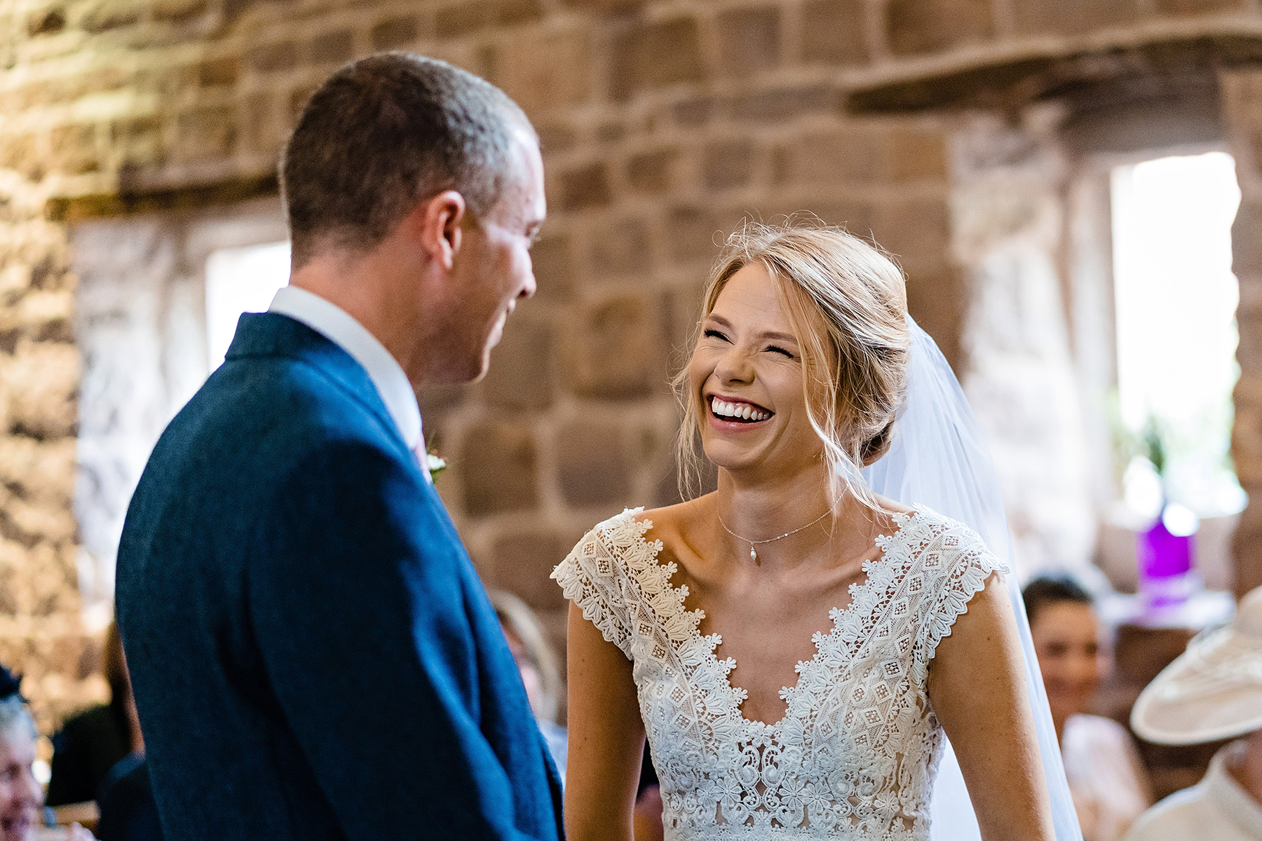 Laughing photograph of a bride