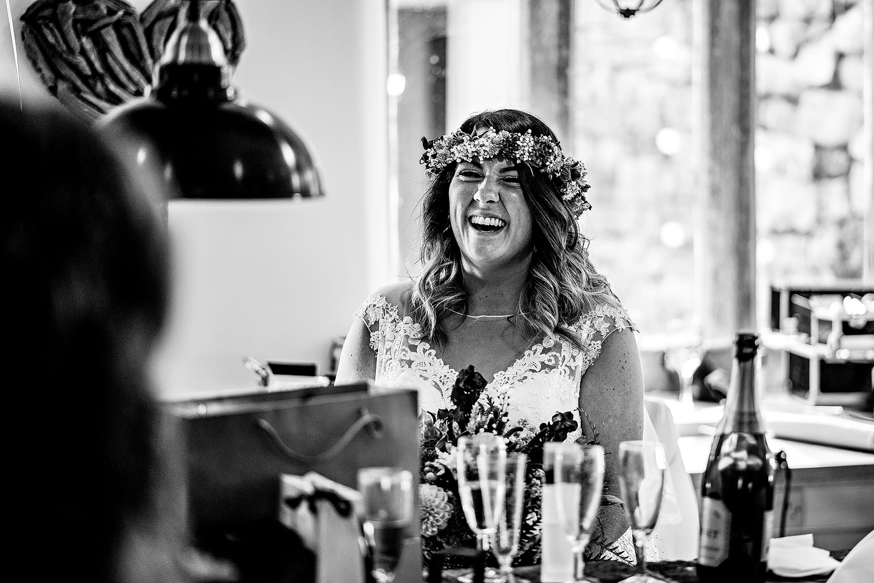 a bride laughing