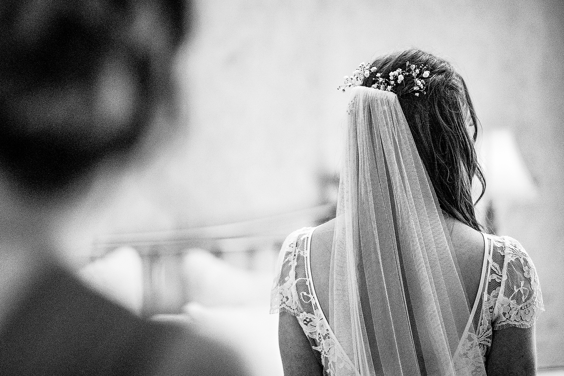 the brides veil from the back