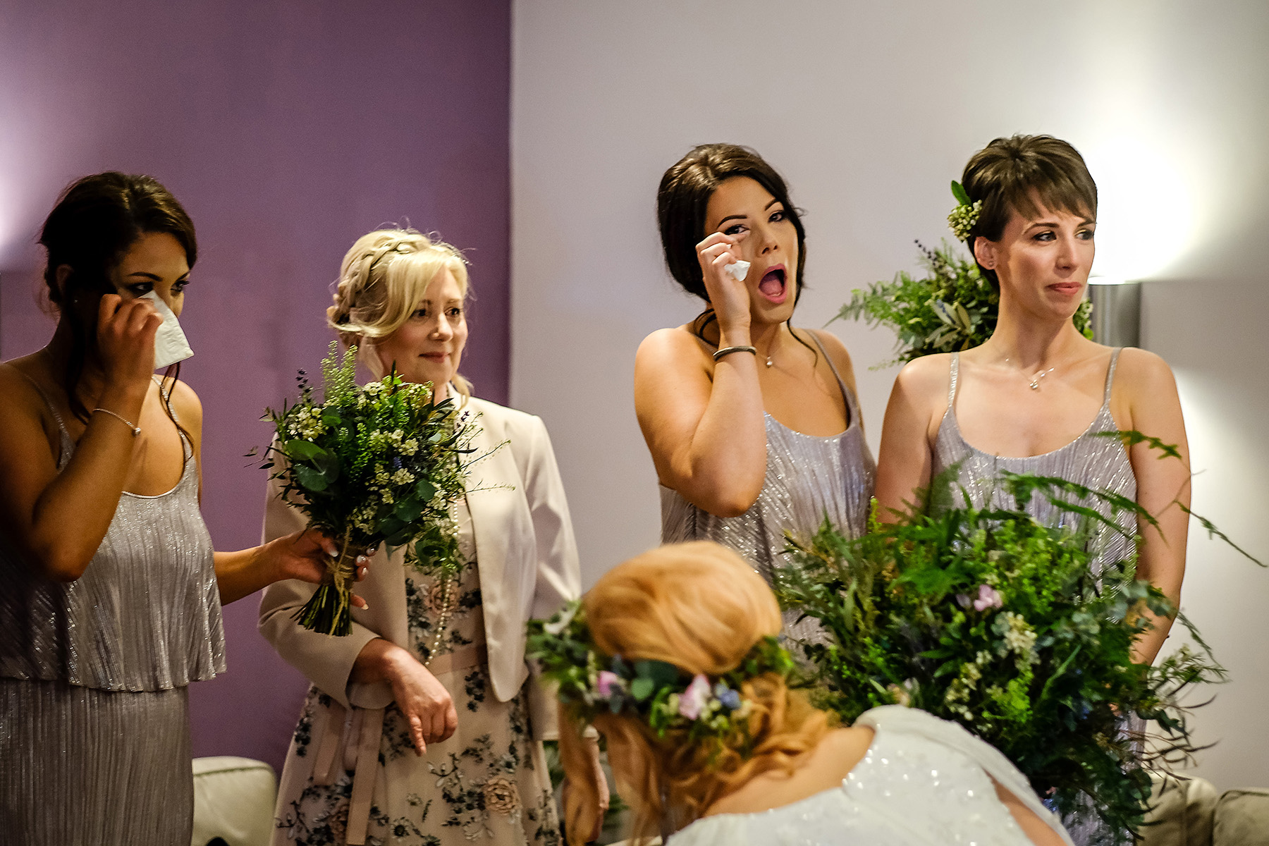 bridesmaids looking happy