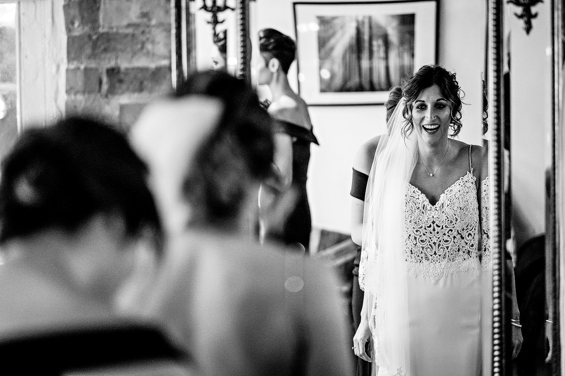 bride getting reading at the West Mill wedding photography