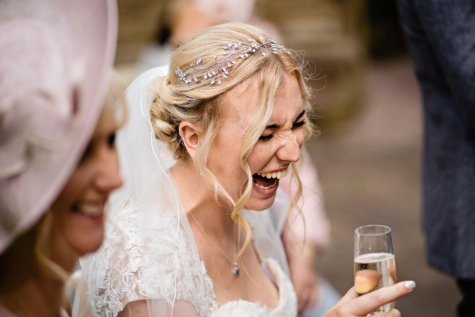 bride laughing at Dunwood Hall